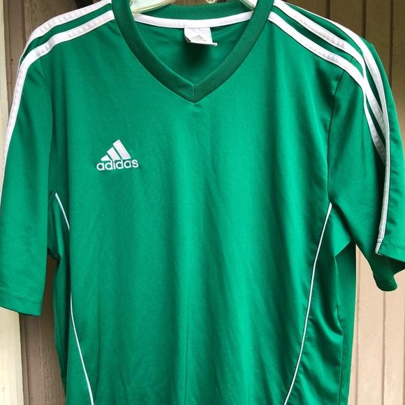 Adidas Men's Green & White Stripe Soccer Jersey M